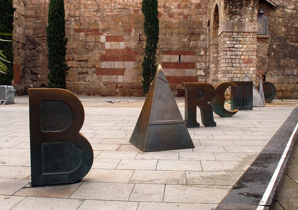 Cast iron letters forming the word Barcino