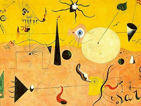 Catalan landscape, painting by Barcelona surrealist artist Joan Miró