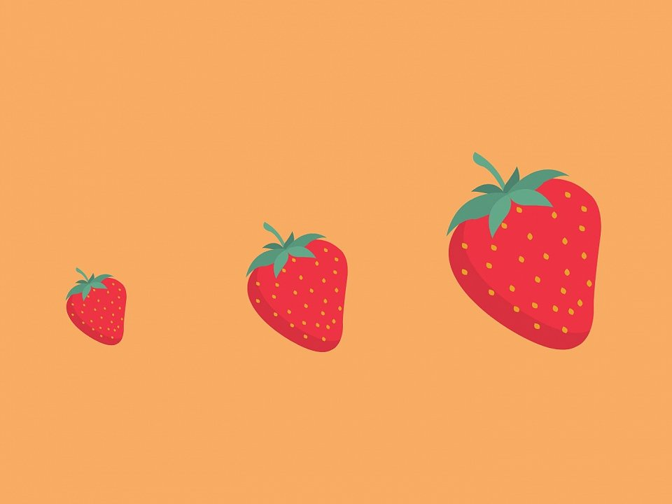 3 strawberries on an orange background growing in size from left to right.