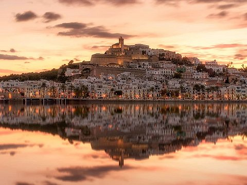 Ibiza old town at sunset
