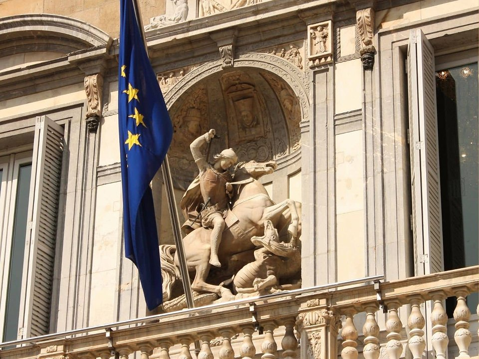 Sculpture of Saint George slaying the dragon on the Catalan government building