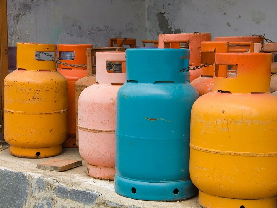 colourful tanks of propane gas