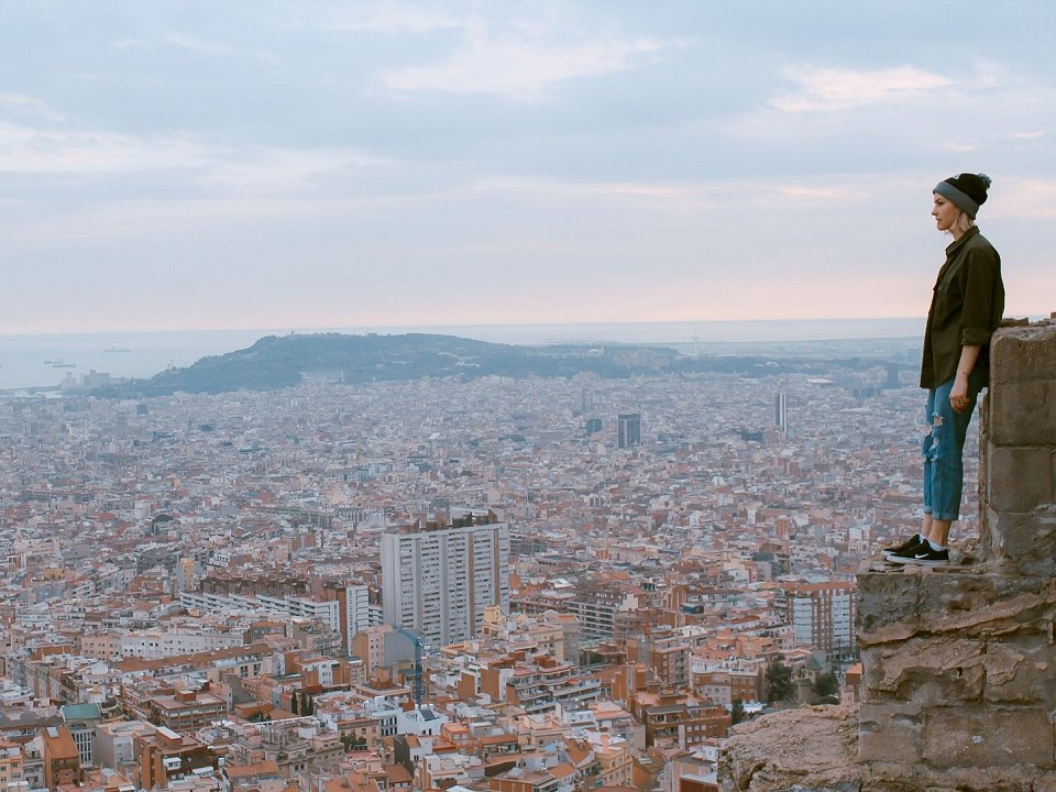 Woman looking over the city of Barcelona