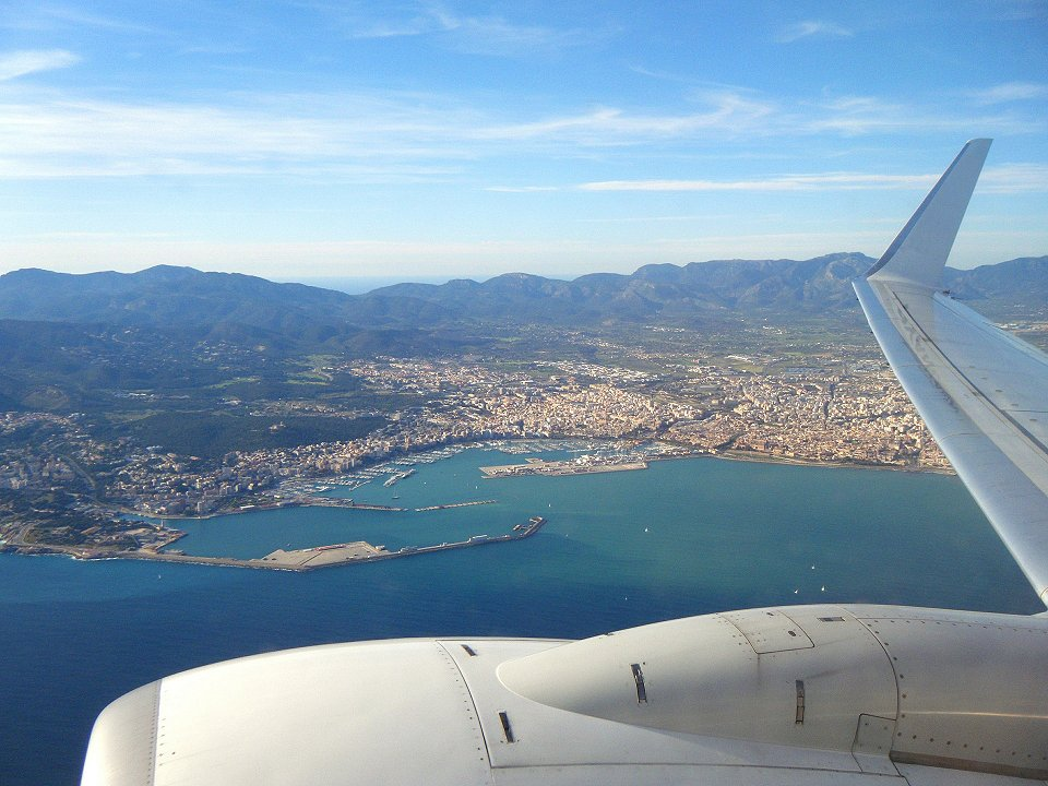 Plane views of a Spanish coastal town